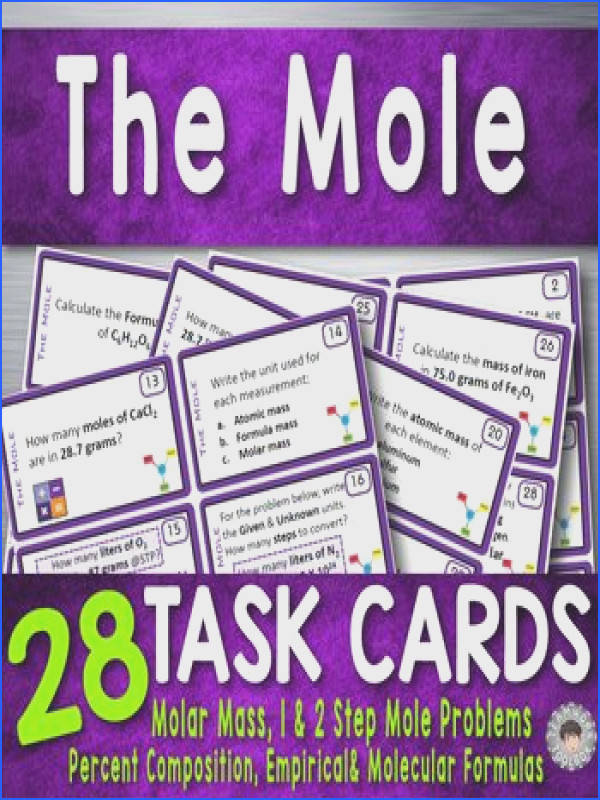 The Mole 28 Task Cards for Chemistry Conversions & Formulas