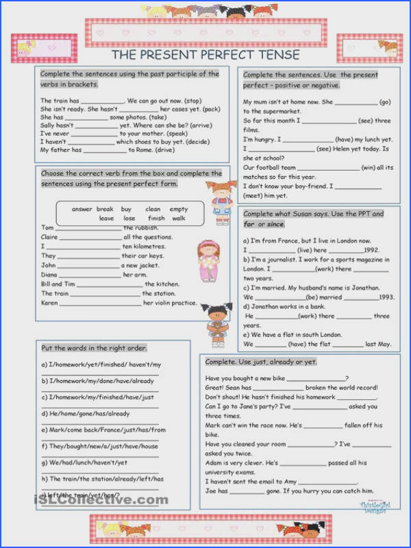 The Present Perfect Tense worksheet Free ESL printable worksheets made by teachers