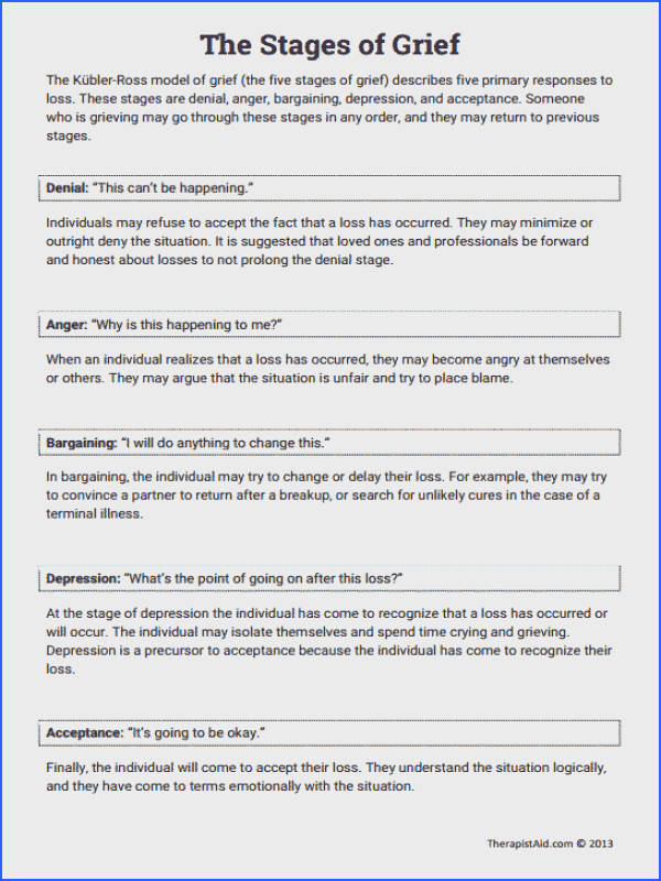 The Stages of Grief Education Printout Worksheet