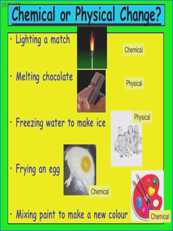 There are several differences between a physical and chemical change in matter or substances A physical change in a substance doesn t change what the