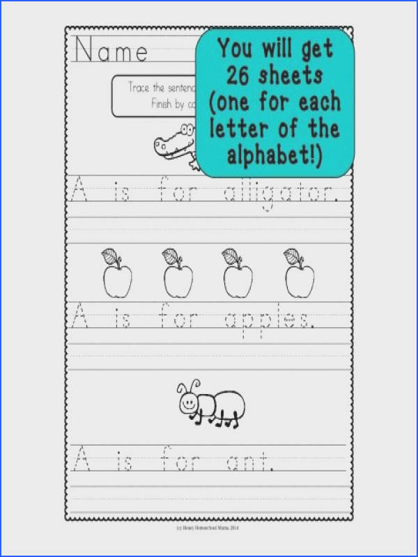 "These cool worksheets are like handwriting practice and copywork mixed to her There are three sentences based on ""A is for "" type of format"