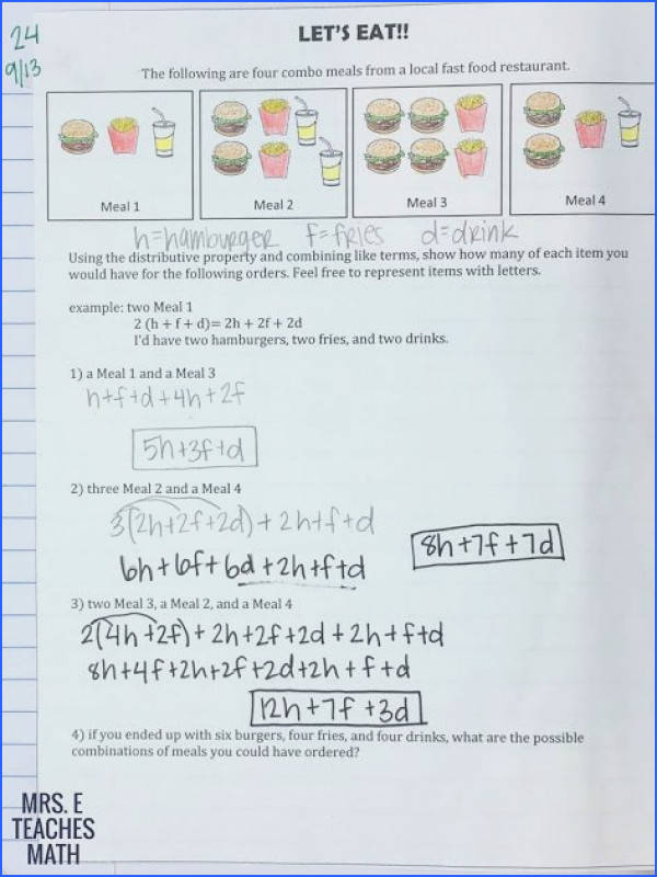 This classwork set es with 5 worksheets Each sheet has 8 problems including… Algebra Patterns and Distributive Property Activities