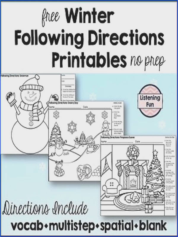 This free no prep has 3 winter scenes with directions for your students to practice following directions Includes a snowy day snowman a…