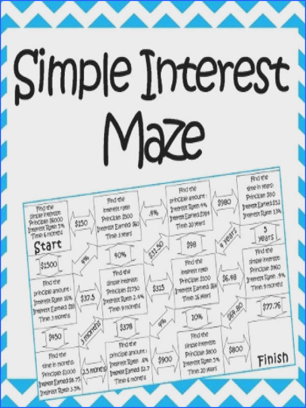 This is a maze posed of 11 simple interest problems It is a self checking worksheet that allows students to strengthen their skills at calculating