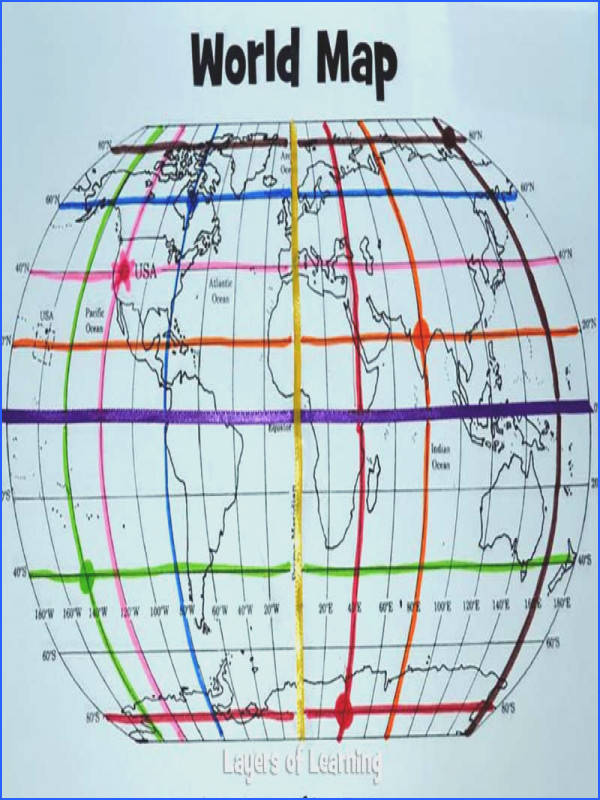 Printable World Map Mapping Activity This could be used for learning about the equator prime meridian and latitude and longitude in a colorful and