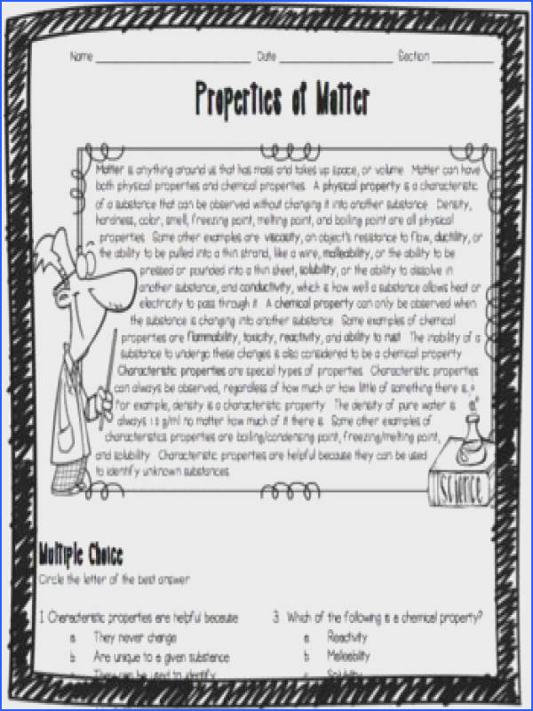 This Properties of Matter worksheet was designed for middle and high school students who need help
