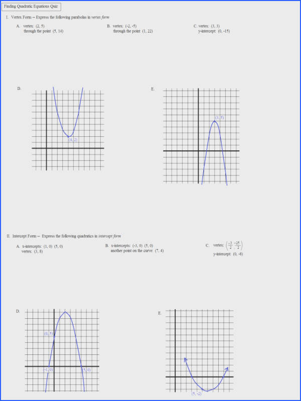 Math Worksheetsle Transformations Worksheet Finding Quadratic Equations Quiz 1 Transformation Practice Identifying Multiple Tes