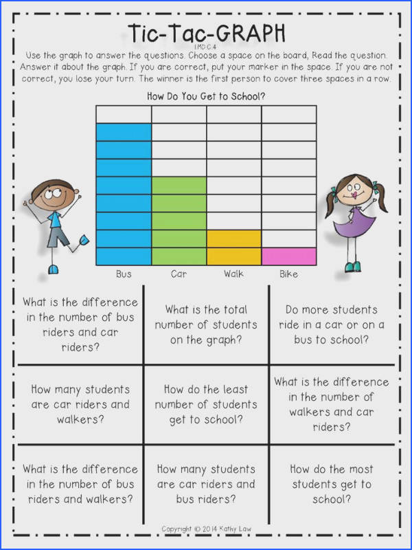 Tic Tac Graph Bar Graph Worksheet for Kids
