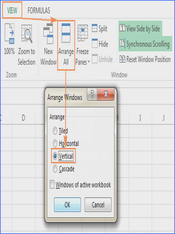 Arrange two Excel windows vertically