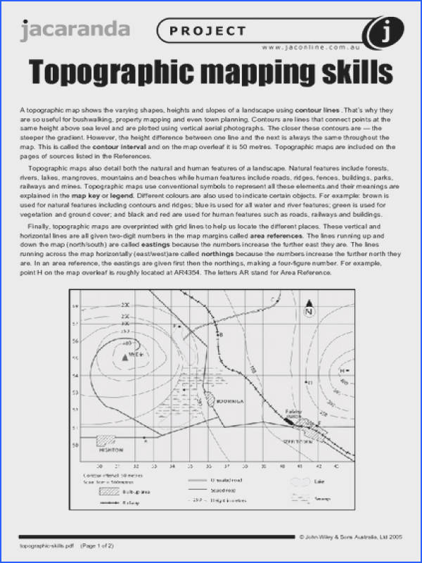 Topographic Mapping Skills Worksheet