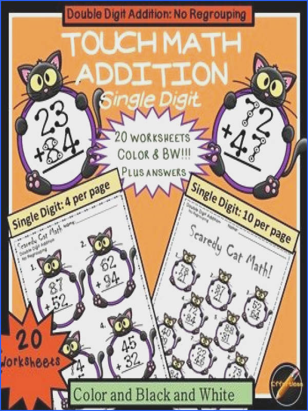 20 Touch Math addition double digit no regrouping worksheets with cute Halloween Cat theme