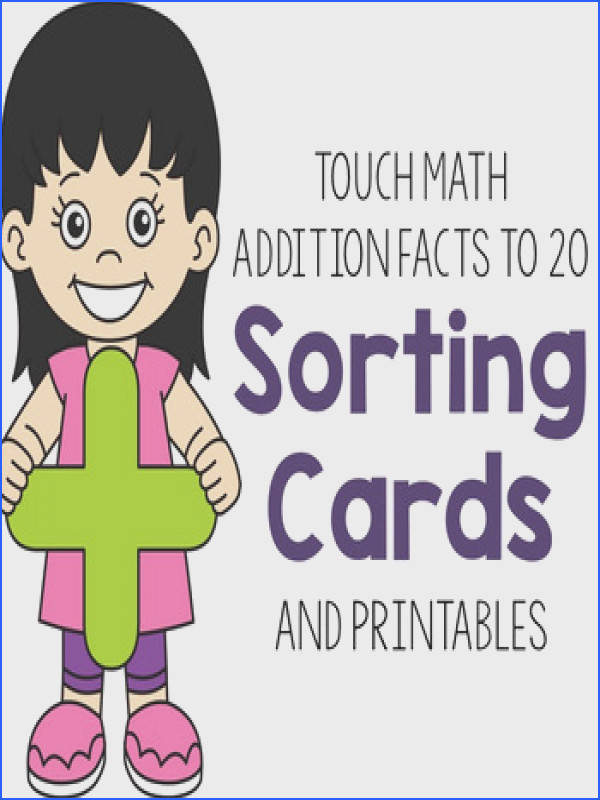 Help students master addition facts to 20 with touch math supported sorting cards and worksheets Laminate and add velcro to sorting cards for a quick and