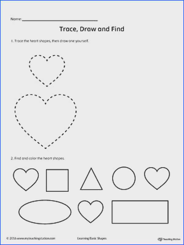 Trace Draw and Find Heart Shape Worksheet Practice tracing drawing and finding