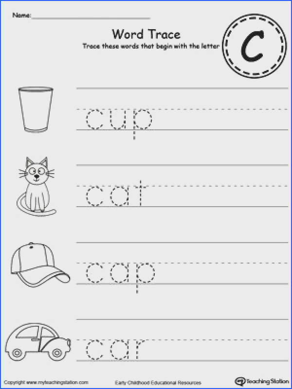 Trace Words That Begin With Letter Sound C Preschool WorksheetsAlphabet