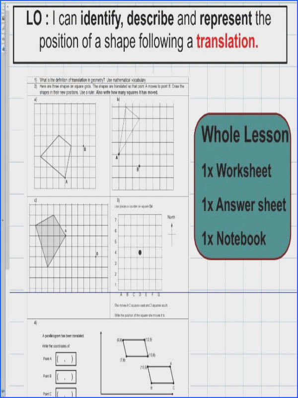 Translation Geometry Position Of Shape Ks2 Year 5 & 6 Image Below Translations Worksheet