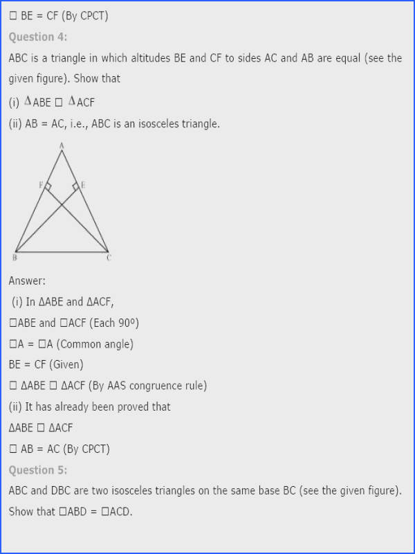 Triangle Congruence Worksheet 2 Answer Key Fresh Ncert Solutions For Class 9th Maths Chapter 7 Triangles Pics
