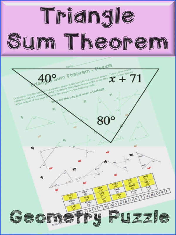 Triangle Sum Theorem Puzzle Worksheet