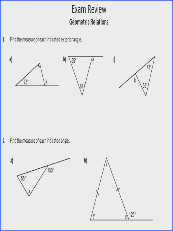 Worksheet Triangle Sum And Exterior Angle Theorem Mychaume. Triangle Sum Theorem Worksheets. Worksheet. Geometry Worksheets Triangle Sum Theorem At Mspartners.co