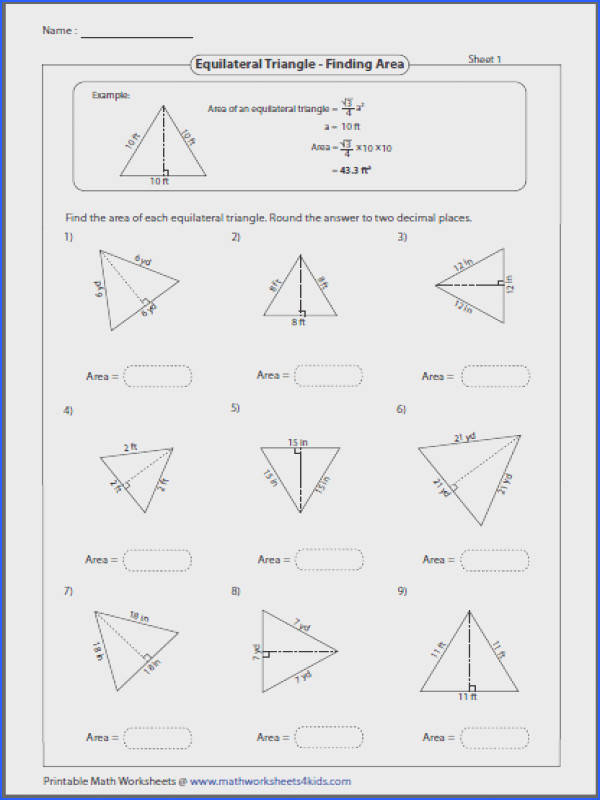 Area of equilateral triangle