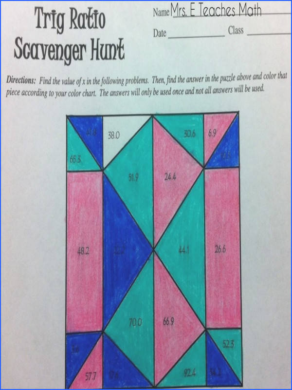 Trig Ratio Scavenger Hunt free activity for geometry students