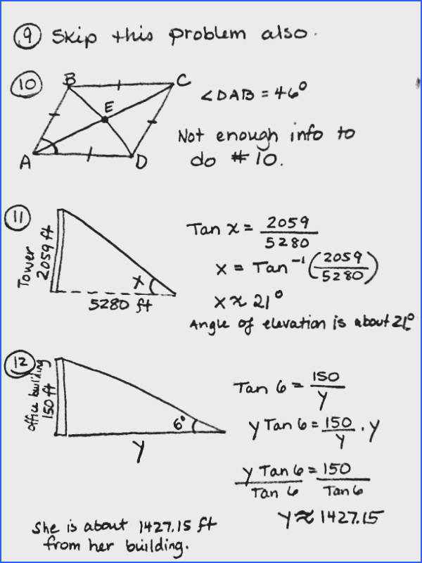 Trigonometric Ratios Word Problems Worksheets Worksheets for all Download and Worksheets