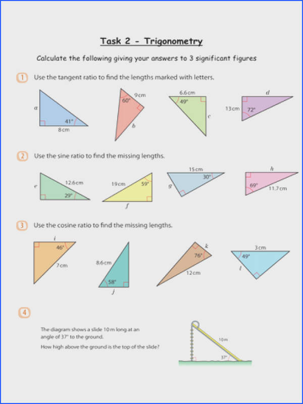 Trigonometry Missing Sides Grade B Level 8 by whidds Teaching Resources Tes