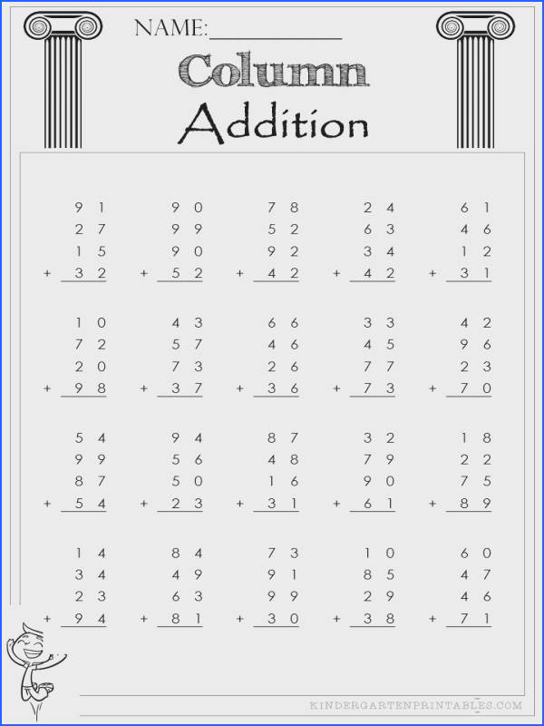 Two Digit Column Addition 4 addends worksheets