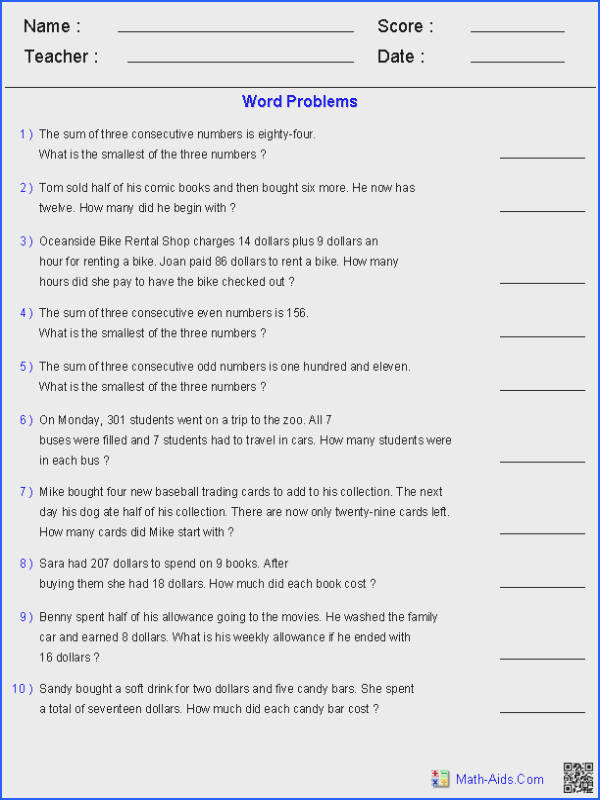 Two Step Equation Word Problems Worksheets · Math EquationsTwo Step EquationsSolving