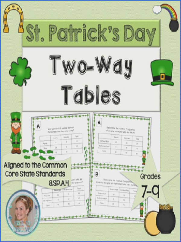 St Patrick s Day Math Activity Two Way Tables