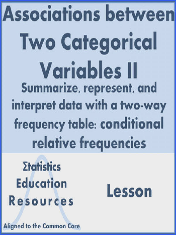Categorical Data & Two Way Tables Conditional Relative Frequency mon Core