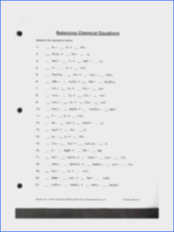 2 pages Balancing Chemical Equations Worksheet
