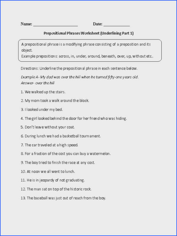 Underlining Prepositional Phrase Worksheet Also many other grammar worksheets for all ages