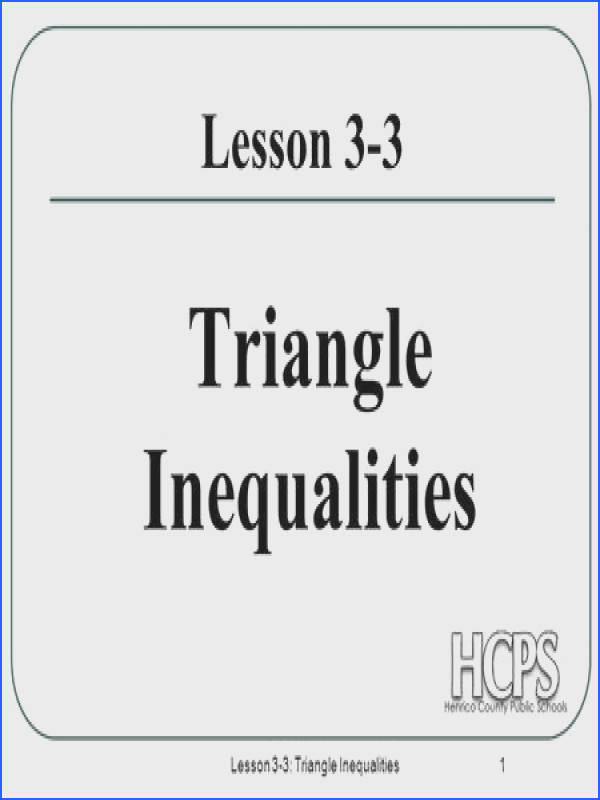 Lesson 3 3 Triangle Inequalities 1 Lesson 3 3 Triangle Inequalities