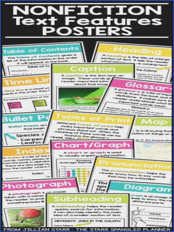 Nonfiction Text Feature Posters are the perfect anchor charts for your first 2nd 3rd