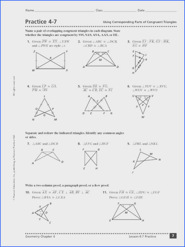 Using Corresponding Parts of Congruent Triangles Worksheet for 10th Grade