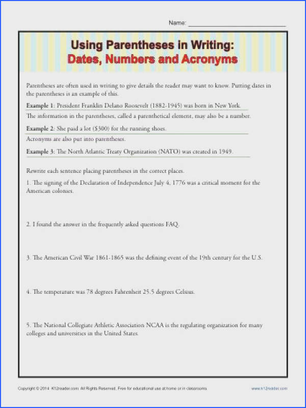 Using Parentheses in Writing Dates Numbers and Acronyms Writing Practice WorksheetsSentence