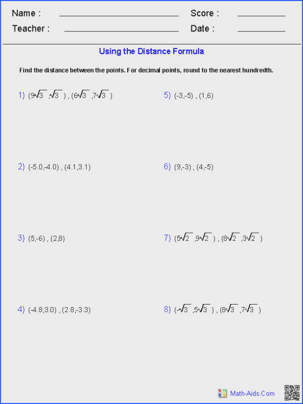 Using the Distance formula Math Aids Pinterest Image Below Radicals Worksheet