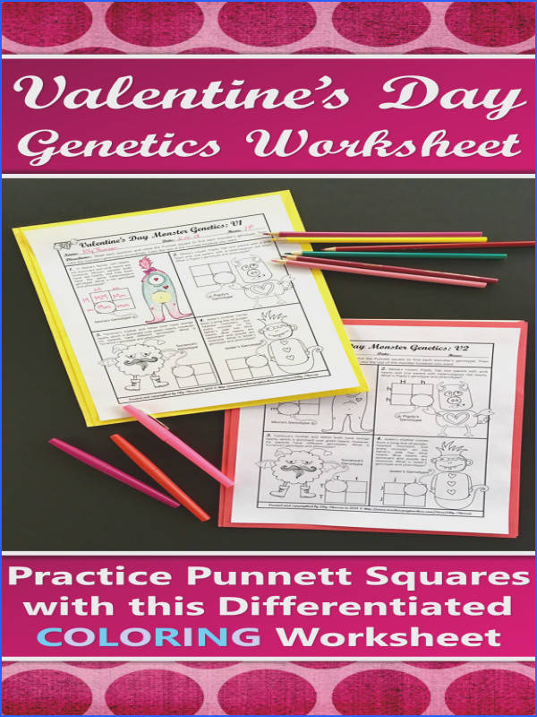 Valentine s Day Monster Genetics Punnett Square Coloring Worksheet