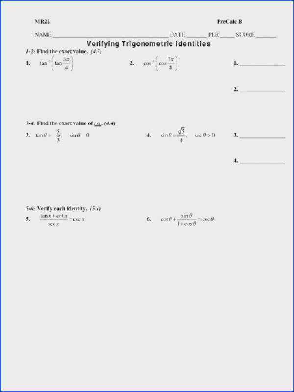 Verifying Trigonometric Identities Worksheet for 10th 12th Grade