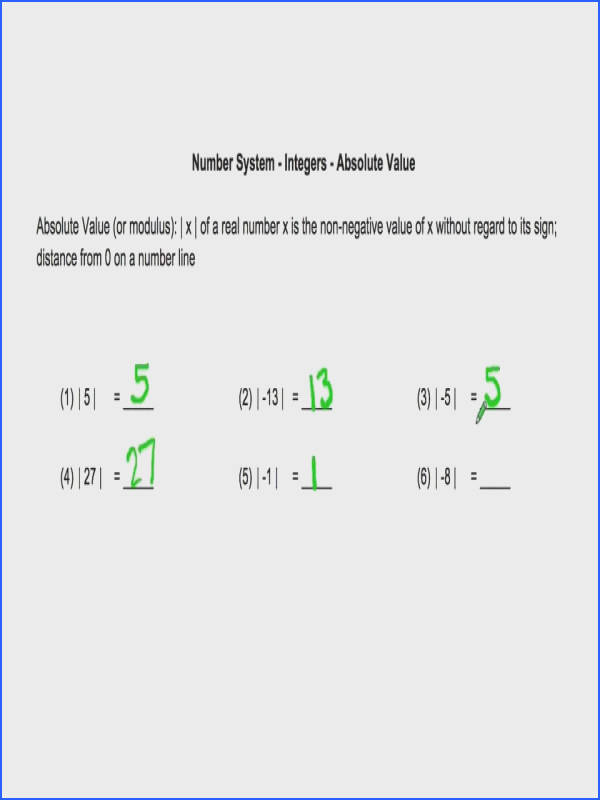 Video Walk through on finding absolute value of integers Link to worksheet on this