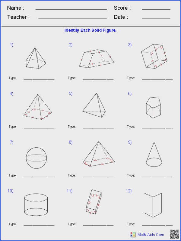 These Geometry Worksheets are perfect for learning and practicing various types problems about Surface Area & Prisms Pyramids Cylinders & Cones