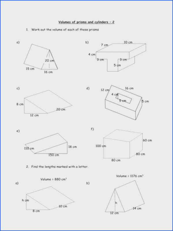 Sa and volume of cylinder worksheet delwfg prisms cylinders fireyourmentor free