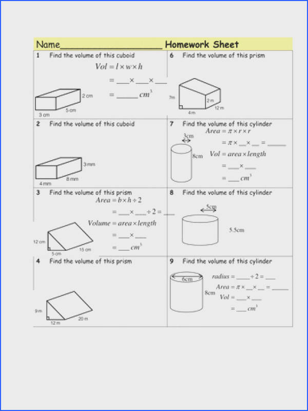Homework Volume of Prisms & cylinders by Tristanjones Teaching Resources Tes