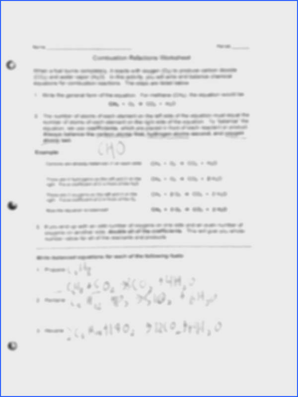 Classification of Matter HW 2 pages bustion Reactions Worksheet