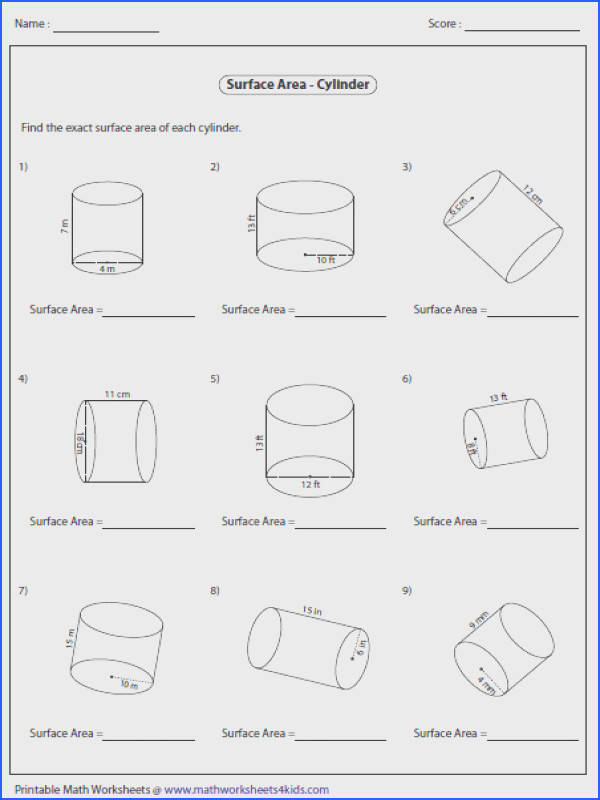 A huge collection of surface area worksheets contain rectangular prism cone cylinder sphere and other prisms