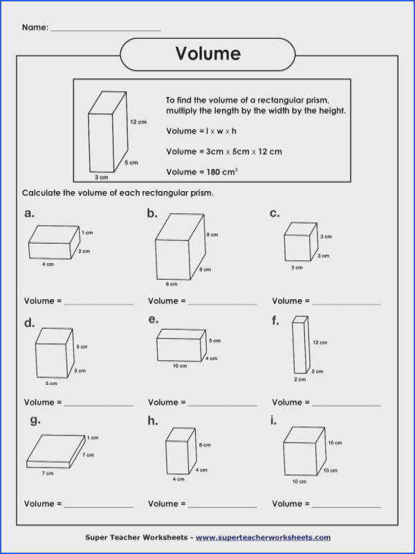 Prism Volume Worksheet Worksheets