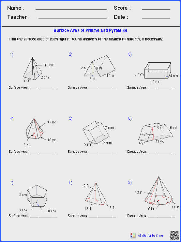 Prisms and Pyramids Surface Area Worksheets
