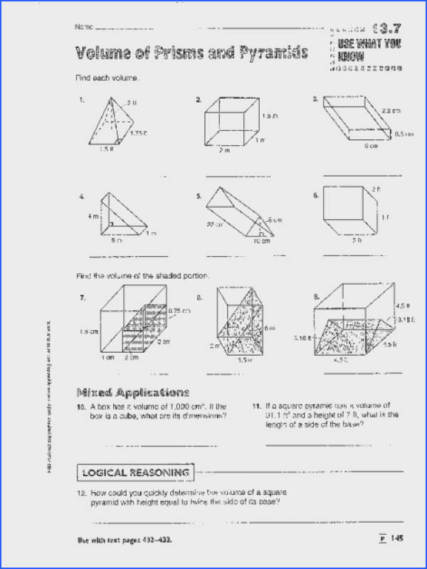 Volume of Prisms Pyramids Cylinders and Cones Worksheet for 8th 9th Grade