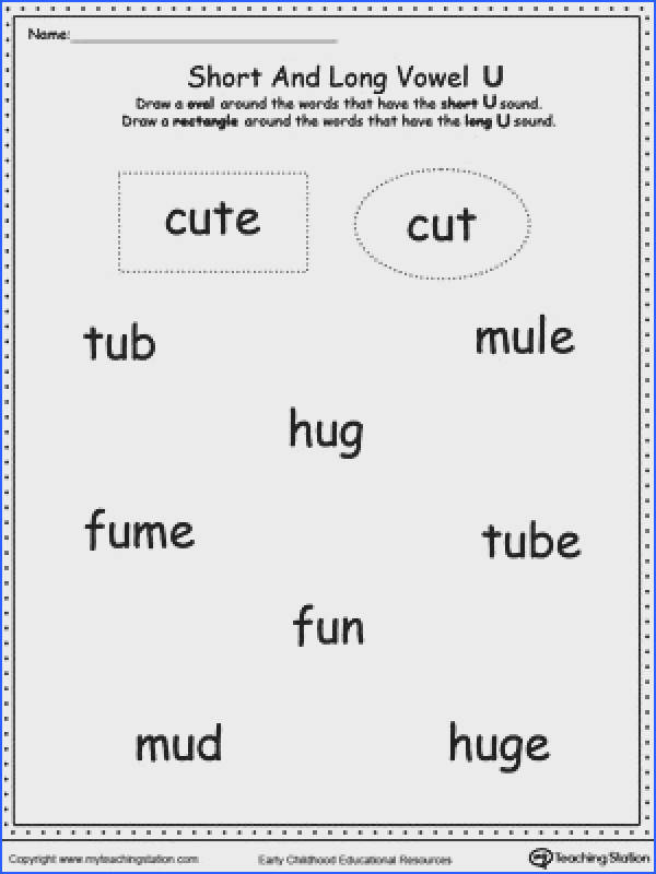 Vowels Short or Long U sound Words Image Below Long A Worksheets