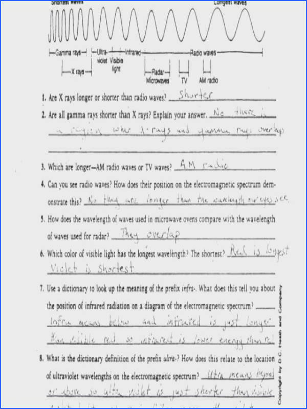 Science 8 Worksheets and Electromagnetic Spectrum Worksheet
